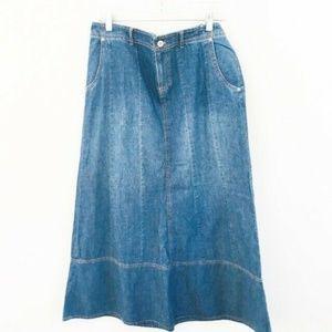J.Jill Modest Denim Long Cotton Skirt